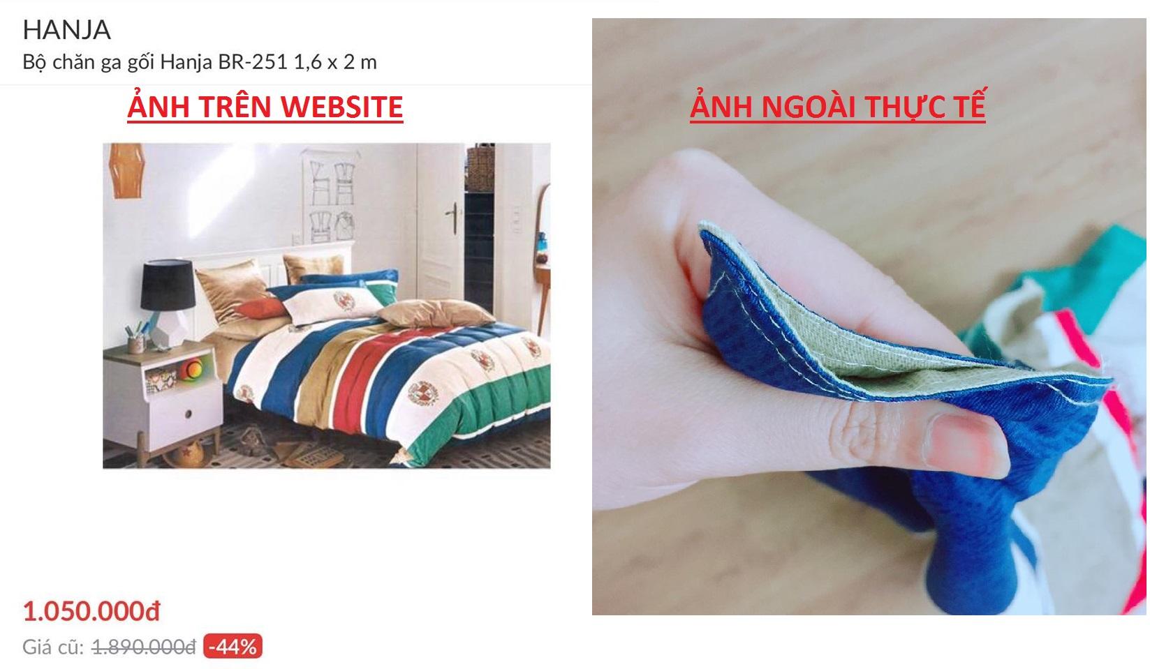 Hình ảnh bộ chăn ga trên website và thực tế, vì vậy mà Lozi phải làm thủ tục đổi trả hàng tại Adayroi :((