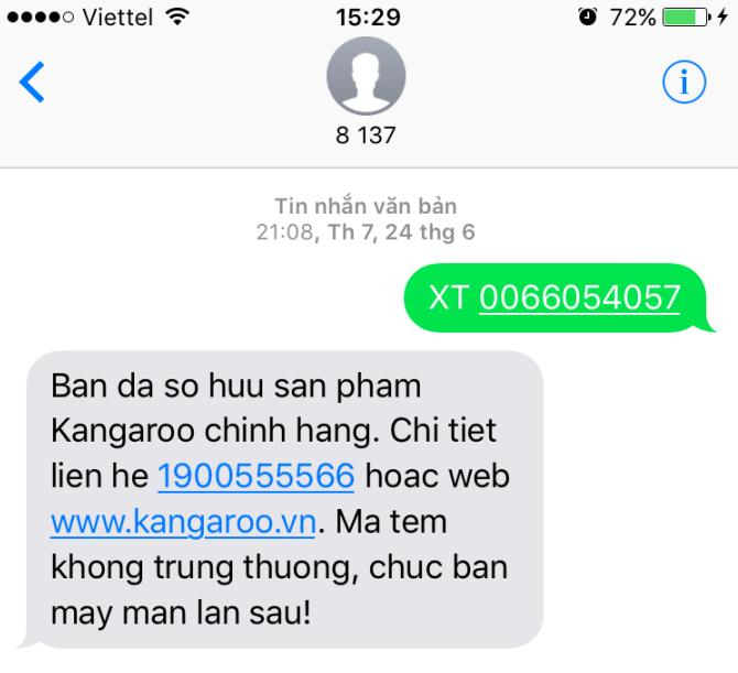 Tin nhắn từ Máy lọc nước Kangaroo xác nhận hàng chính hãng