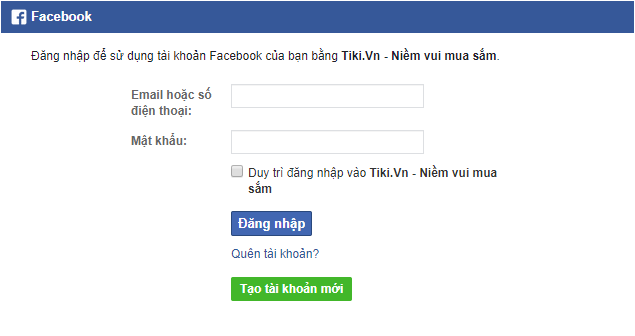 Tao tai khoan bang Facebook