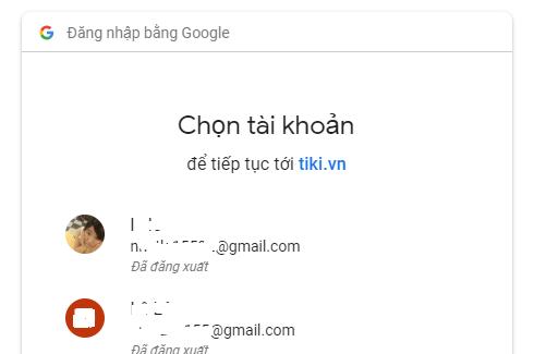 Chon tai khoan google dang nhap tiki