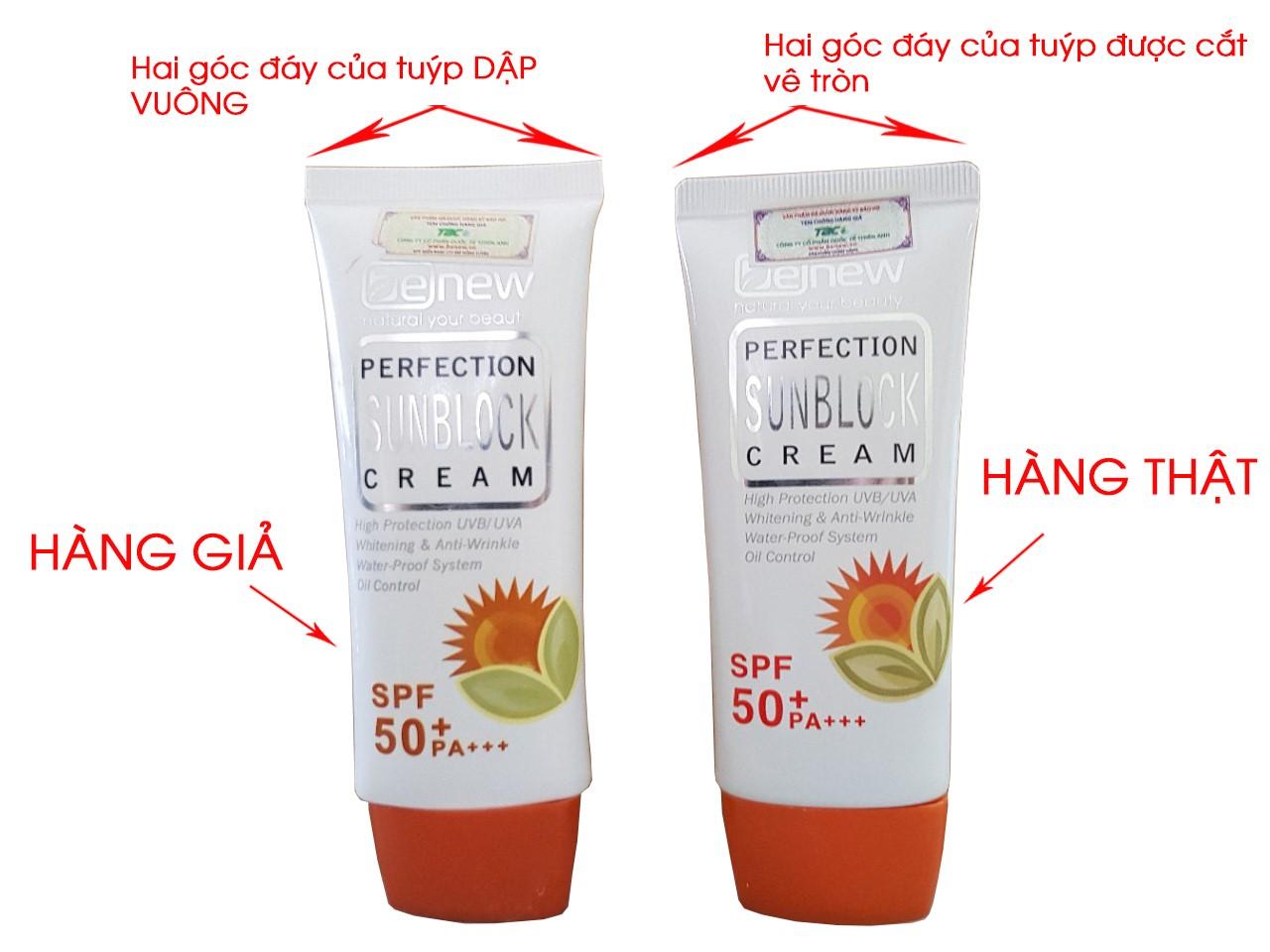 review kem chong nang Benew Perfection Sunblock Cream - phan biet hang that