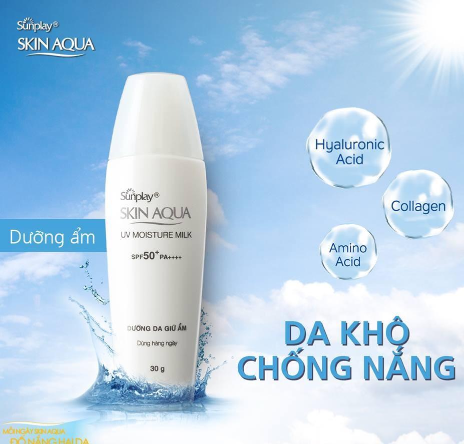 Review kem chong nang danh cho da kho Sunplay Skin Aqua UV Moisture Milk