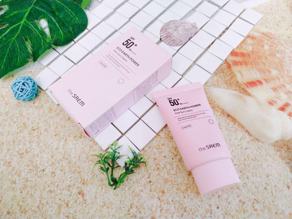 The SAEM Eco Earth Power Pink Sun Cream SPF50+ PA+++ co gia binh dan