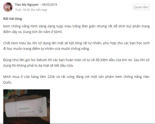 Review kem chong nang Innisfree cho da dau mun