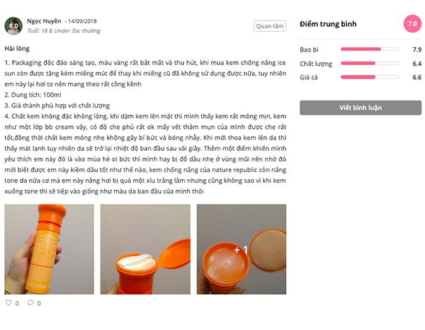 Review kem chống nắng ice sun màu cam