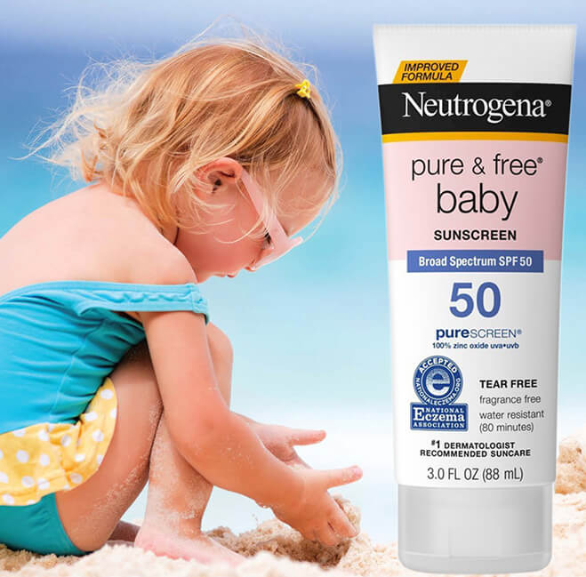 kem chống nắng cho bé review Neutrogena Pure & Free Baby Sunscreen Broad Spectrum