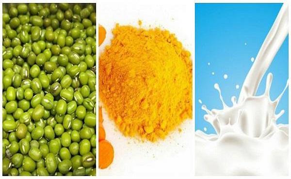 review mặt nạ bột đậu xanh, bột nghệ và sữa tươi
