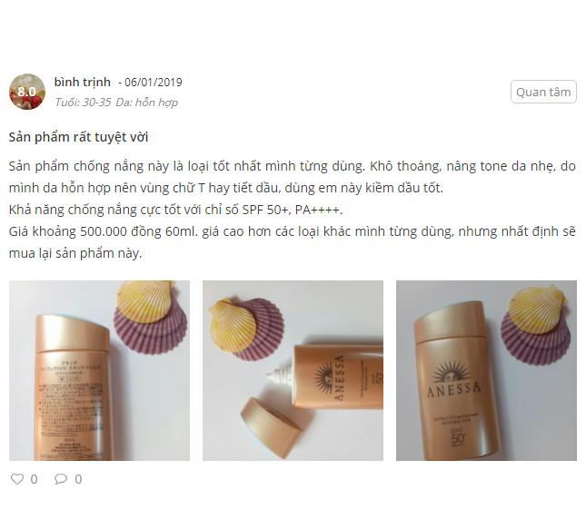 kem chống nắng Anessa vàng review phản hồi khách hàng