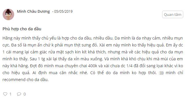 Cam nhan sau khi su dung san pham cua ban Minh Chau Duong