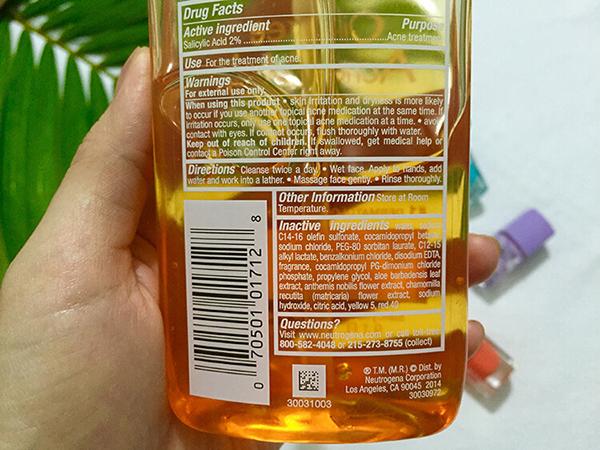review sữa rửa mặt neutrogena oil free thành phần