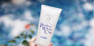 review sữa rửa mặt senka perfect white clay