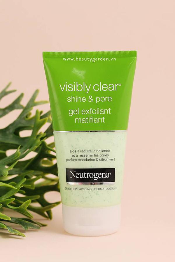 review sữa rửa mặt Neutrogena Visibly shine & pore về bao bì