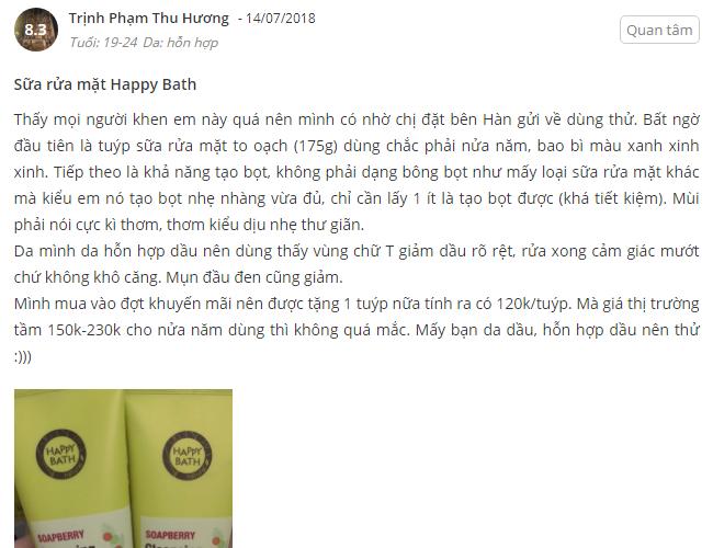Danh gia của ban Trinh Pham Thu Huong sau khi su dung san pham